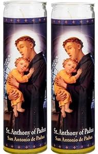Set of 2 St Anthony Prayer Candles 2 Veladoras De San Antonio