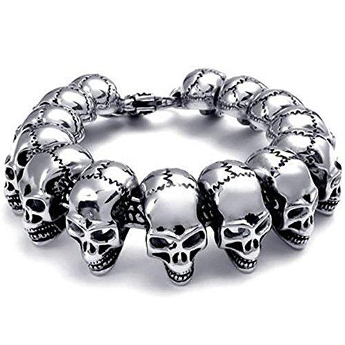 ShankMing Gothic Skeleton Skull Stainless Steel Men's Bracelet for Boyfriend/Father/Son on Christmas (Homemade Gypsy Halloween Costumes For Women)
