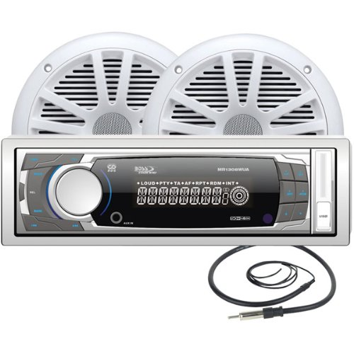 "Brand New Boss Mechless Receiver With Bluetooth, 6 ?"" Speaker Pair And Marine Antenna Kit"