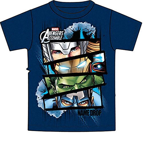 Marvel Avengers Hulk Thor Iron Man Captain America Mens T Shirt - Blue