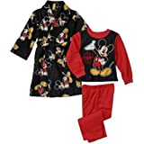 Disney Mickey Mouse Toddler Boy 3 PC Fleece Bath Robe Pajama Set