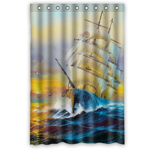 "Cartoon Nautical Tall Ships Logo Waterproof Bathroom Fabric Shower Curtain,Bathroom Decor 48"" X 72"" front-519281"