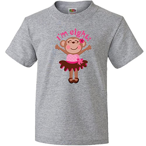 Inktastic Big Boys' Monkey 8Th Birthday Gift For Girl Youth T-Shirts Youth Small Athletic Heather front-653967