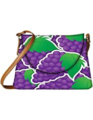 Snoogg Purple Grape Sticker Background Card In Vector Format Womens Carry Around Sling Bags