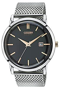 Citizen Watch Mesh Men's Quartz Watch with Black Dial Analogue Display and Silver Stainless Steel Bracelet BM7190-56E