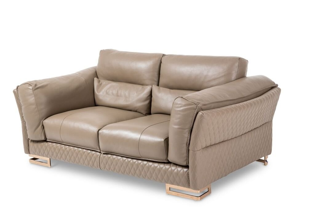 Michael Amini Monica Leather Loveseat - Taupe/Rosegold