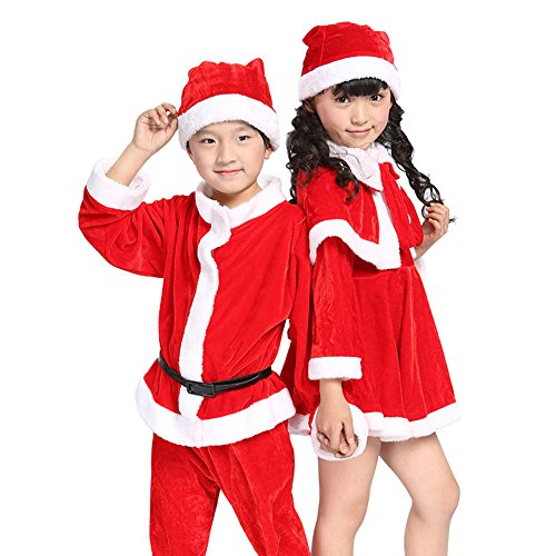Children Pleuche Santa Suit Costume Girl's Boy's Performance Suits