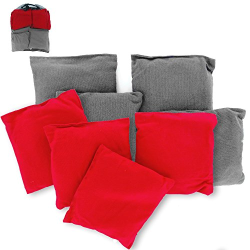 Premium Weather Resistant Duck Cloth Cornhole Bags - Set of 8 Bean Bags for Corn Hole Game - 4 Red & 4 Grey (Ncaa Corn Hole compare prices)