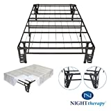 Night Therapy Platform Metal Bed Frame/Foundation Set(SmartBase + Metal Brackets for Headboard & Footboard + Bed Skirt - Twin) - No Box Spring needed