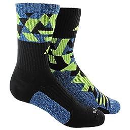 adidas Men\'s Energy Camo 2-Pack Crew Socks, Black/Super Blue-Black Marl/Solar Yellow, Large