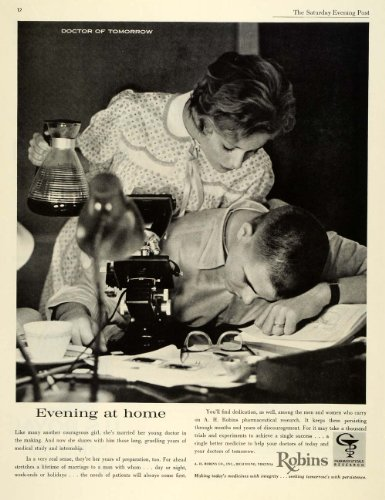 1962 Ad A H Robins Pharmaceuticals Young Doctor Training Wife Microscope Medical - Original Print Ad