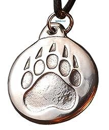 Bear Paw - Pewter Pendant - Power, Spirit, Totem Animal, Native American Necklace