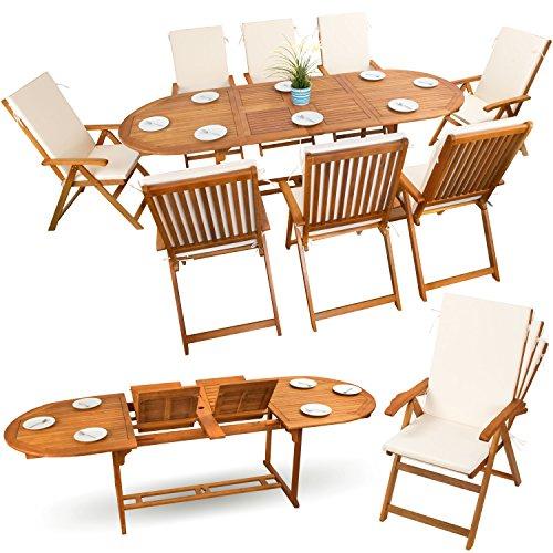 17-tlg-Sitzgruppe-Gartenmbel-Set-Holzmbel-Essgarnitur-Holz-Sitzgarnitur-Akazie-gelt-8x-verstellbarer-Klappstuhl-1x-ausziehbarer-Klapptisch-8x-Sitz-Auflagen-creme-weiss