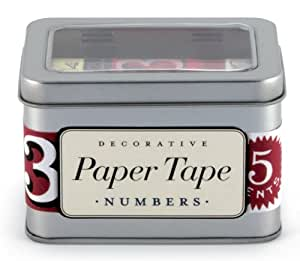 Cavallini Numbers Decorative Paper Tape, 5 Assorted Rolls