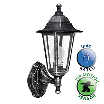Traditional Victorian Style Brushed Silver And Black Outdoor Garden Security IP44 Rated Wall ...