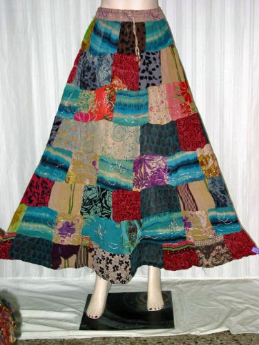 Gift for Ladies - Multi Color Printed Rayon Skirts Girls Patchwork Hippie Comfortable Clothing in India Free Shipping