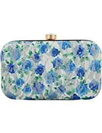 Tooba Women's Clutch (White, Blue Printed Foam Rose 6x4)