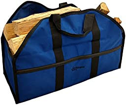 Ultimate Firewood Log Carrier by Grillinator: Back-Saving Design, PVC Canvas & Lifetime Guarantee (Blue)