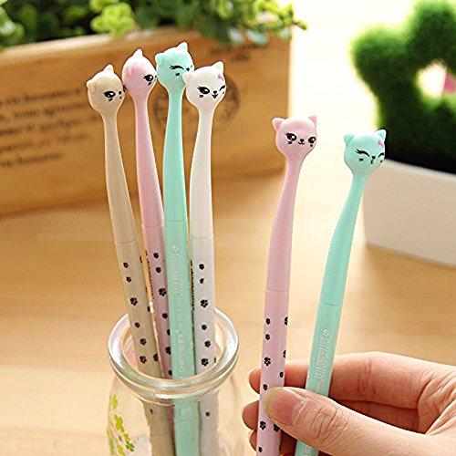 Witkey Cute Cartoon Bedroom Eyes Cat Gel Ink Pen Rollerball Pens (bedroom eye cat 4 Pens)