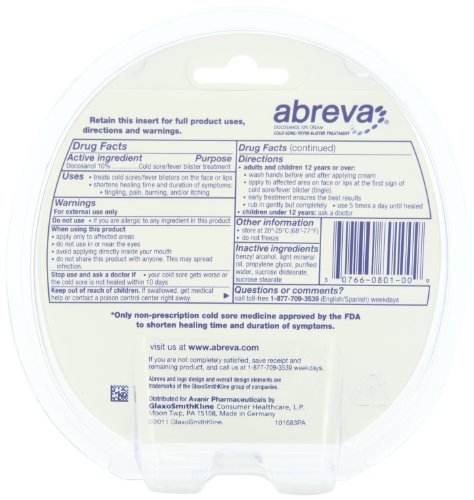 Abreva Only Fda Approved Cold Sore Treatmentfever Blister Medicine