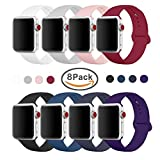 Yimzen Band for Apple Watch Series 3 38mm 42mm, Soft Silicone Replacement Sport Band iWatch Strap for Apple Watch Series 3 Series 2 Series 1, S/M M/L Size (Z-8 Pack, 42mm S/M) (Color: Z-8 pack, Tamaño: 42mm S/M)