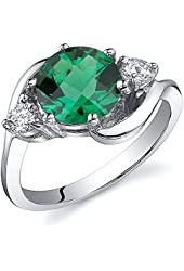 Simulated Emerald 3 Stone Ring Sterling Silver Rhodium Nickel Finish 1.75 Carats Sizes 5 to 9
