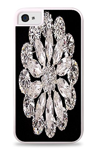 Trendy Accessories Swarovski Austrian Crystal Jewelry Pattern Print Cover White 2-in-1 Protective Case with Silicone Insert for Apple iPhone 4 / 4S