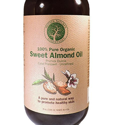 Sweet Almond Oil, 100% Organic and Pure. Highest Quality USDA Organic Cold Pressed. 8 oz. Best Carrier Oil for Aromatherapy. Natural Massage Oil. Moisturizing & Organic Skin Care for DIY Beauty Care. (Cold Pressed Almond Oil Organic compare prices)