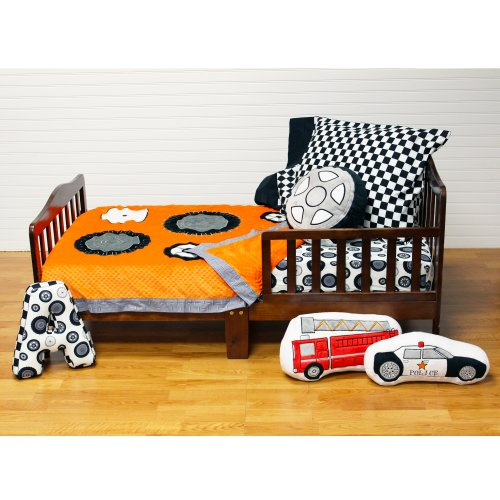 One Grace Place Teyo'S Tires Toddler Set, Black, White, Grey, Orange front-17629