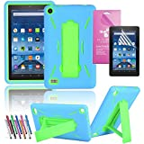 """Amazon Fire 7"""" 2015 Case, EpicGadget(TM) 5th Generation Fire 7 Heavy Duty Hybrid Case Full Protection Cover with Kickstand For Fire 7 inch Display + Screen Protector + 1 Stylus (US Seller) Blue/Green"""