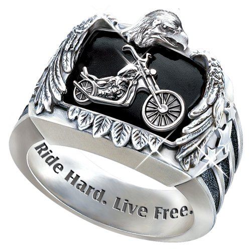 Ride Hard, Live Free Men's Biker Ring - size 13