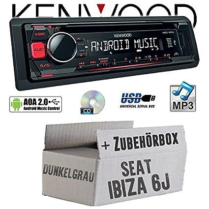 Seat Ibiza 6J Dunkelgrau - Kenwood KDC-100UR - CD/MP3/USB Android-Steuerung Autoradio - Einbauset