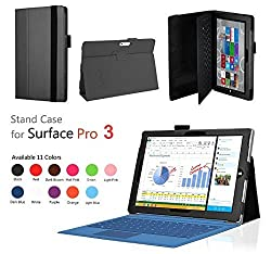 Elsse for Surface Pro 3 - Premium Folio Case with Stand for Microsoft Surface Pro 3 (Keyboard and Tablet NOT included) (Surface Pro 3, Black)