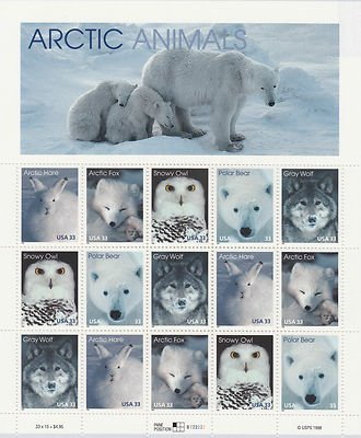 Arctic Animals: Arctic Hare, Arctic Fox, Snowy Owl, Polar Bear, and Gray Wolf, Full Sheet of 15 x 33-Cent Postage Stamps, USA 1999, Scott 3288-92 - 1