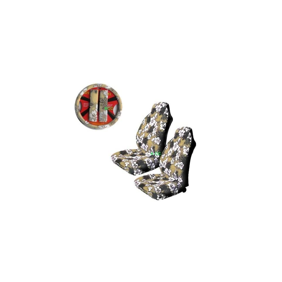 A Set of 5 Pc. Universal fit Hawaiian Hibiscus Floral Print Front Bucket Seat Cover, Steering Wheel Cover and Shoulder Harness Pressure Relief Cover   Tan