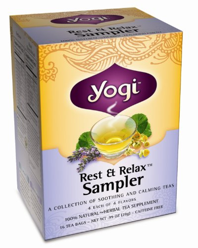 Yogi Rest & Relax Sampler, Herbal Tea Supplement Variety Pack, 16-Count Tea Bags (Pack of 6)