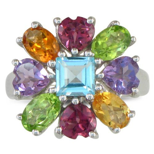 SuperJeweler 4 1/2ct Multi-Colored Flower Gemstone Ring in Sterling Silver
