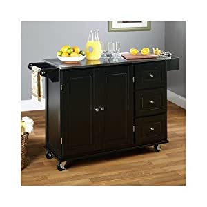 Black Three Drawer Stainless Steel Top Wheeled Island Kitchen Dining Cart