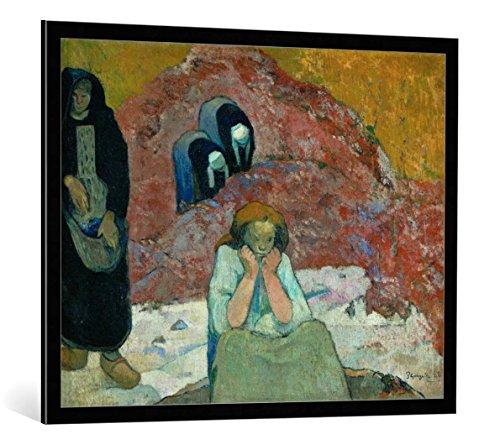 """Quadro con cornice: Paul Gauguin """"Weinlese in Arles-Menschliches Elend"""" - stampa artistica decorativa, cornice di alta qualità, 100x80 cm, nero / angolo grigio"""