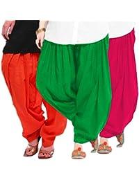 Women's ORANGE-GREEN-RANI Cotton Patiala Salwar (pack Of 3)