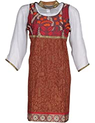 Elegant Blended Women Kurta (65329ory, Brown & Off White, Free Size)