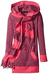 Derek Heart Big Girls\' Marled Hooded Tunic Sweater with Scarf, Regent Pink, Medium