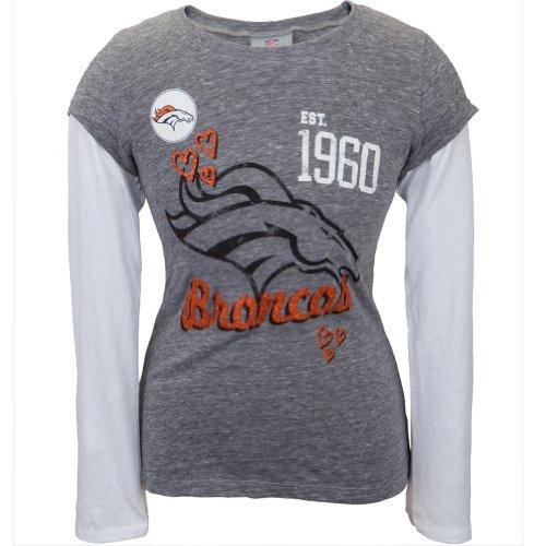 Denver Broncos - Glitter Hearts Girls Youth 2Fer Grey 8/10 front-311441