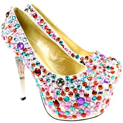 High-Heels-Pumps: Damen Schuh Satin High Stiletto Heel Diamante Platform Pumps Hochzeit Shoes