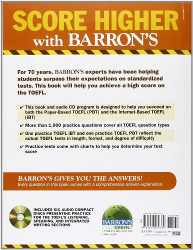 Practice Exercises for the TOEFL: 7th Edition (Barron's Practice Exercises for the Toefl)
