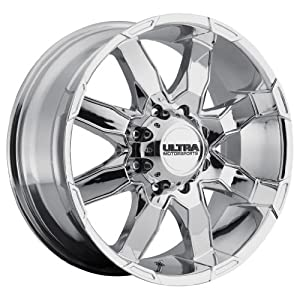 18 inch 18×9 Ultra Wheel Phantom Chrome wheel rim; 8×6.50 8×165.1 bolt pattern with a +12 offset. Part Number: 225-8982C+12