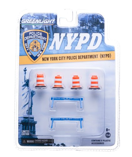 "GreenLight NYPD Road Accessory Pack Series 1 Car (4x NYC DOT Traffic Barrels, 2x ""Police Line Do Not Cross"" Barriers) (1:64 Scale)"