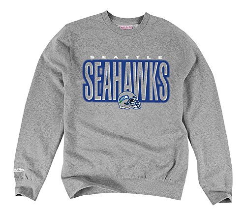 Seattle-Seahawks-Mens-Mitchell-Ness-Blur-Crew-Sweatshirt-Grey-Large
