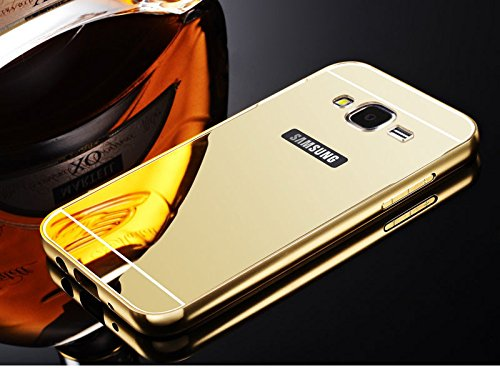 OnlineeMarket Latest New Luxury Design High Quality Gold Plated Acrylic Back Metal Frame Bumper Case Cover For Samsung Galaxy J7 J 7 - GOLD