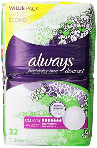 Discreet, Incontinence Underwear, Maximum Absorbency, Small/Medium, 32 Count